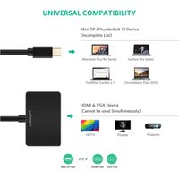 2 in 1 Thunderbolt 1/2 mini DP à HDMI VGA Adaptateur de câble Mini DisplayPort To HDMI VGA Converter pour Apple MacBook Air Pro Pro