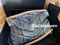 접이식 양피 여성 Loulou Puffer 데님 파란색 어깨 가방 체인 크로스 바디 Luxurys 디자이너 핸드백 봉투 메신저 가방 케이트 플랩 클러치 지갑 577475