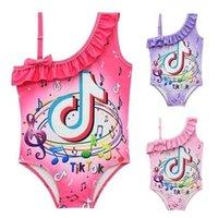 الصيف الطفل الأطفال ملابس السباحة خطابات tiktok المطبوعة السفر الشاطئ الفتيات tiktok المايوه الاطفال عارضة swimwear الملابس g803msy