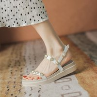 Sandals Buckle Strap Clear Heels Round Toe Real Leather Shoes Woman Roman Soft Suit Female Beige 2021 Summer Genuine Low Gladiat