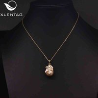 Xlenag Natural Baroque Leaf Ladies Gift Noble Luxury Pearl Pendant Retro Fashion Necklace Jewelry Sieraden GN0222
