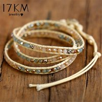Charm Bracelets Bohemian Stone Leather Wrap For Women Man 2021 Vintage Weave Beads Bracelet Handmade Jewelry Drop