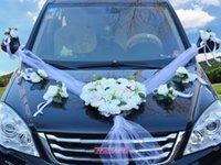 장식 꽃 화환 인공 신부와 신랑 결혼식 자동차 꽃 장식 샴페인 컬러 + 흰색 하늘 모양