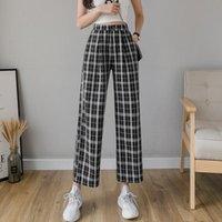 Syiwidii Vintage Ekose Pantolon Elastik Bel Kadınlar Yüksek Artı Boyutu Geniş Bacak Casual Kadın Kore Pantolon Kadın Capris