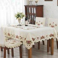 Скатер-классные цветок ручной работы с вышивкой прямоугольной обеденной столовой набор бежевых атласных круглых столовых тканью ткань ткань дома декор ткани