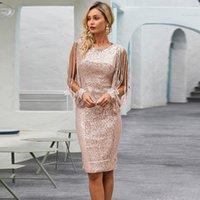 Evening Dress Spring Summer Women Clothing Slim Fit Long Sleeve Sequins High Waist Round Neck Pencil Skirt 210421