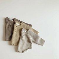 2020 Automne Nouveau Toddler Baby Baby Garçons Filles Body Body Jumpsuit pour nourrissons Knitwear Tenues pour bébé Nouveau-né Pull et chapeau en tricot de bébé 953 Y2