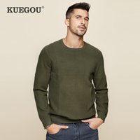 KUEGOU autumn winter Men's sweaters simple pure color Knitting sweater pullovers men top plus size DZ-11863 210524