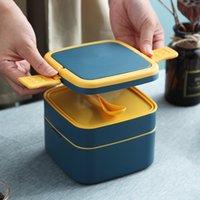 Tragbare Lunchbox Tisch Ware Kunststoff Mikrowellenheizung Doppelschicht Studenten Lebensmittel Container Dinner Eimer 7 2MD K2