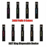 Kit authentique Kit de cigarette jetable Iget King authentique 2600 Puffs 8.5ml Cartouche prérempli Vape Pen Véritable vs Shion Plus Bang XXL