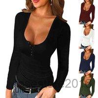 Женская футболка женщина повседневная U шеи кнопка вязать с длинным рукавом топ 2021 весна осень плюс размер дамы твердой тонкой пуловерной футболке Femme Lulu365
