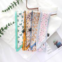 Scarves 2021 Summer French Elegant Small Broken Flower Hair Silk Band Ribbon Scarf For Women