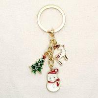 손으로 만든 보석 도매 산타 클로스 데이비드의 사슴 눈사람 크리스마스 트리 키 체인 펜던트 선물