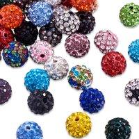 100pcs 12mm Coloré Crystal Colorful Disco Balle Baller argile Strass lâche Entretoise Charme Perles de charme pour la fabrication de bijoux Collier Bracelet DIY Bracelet