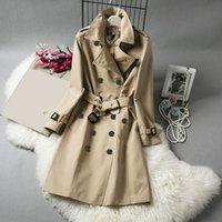 Женская траншея пальто Длинная классическая ветровка Водонепроницаемый британский новый высококачественный английский стиль осень зима габадианский сплошной цвет вскользь A01D