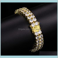Link Chain Bracelets Jewelry Mens Punk High Quality 10Mm Gold Plated Bling 2 Rows Cz Tennis Bracelet For Men Women Gift Drop Delivery