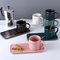 Louça de jantar definir xícara de café cerâmica nórdica caneca de ouro banhado a ouro e saucer