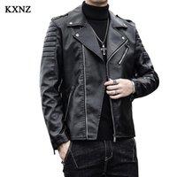 Men's Fur & Faux Man Pu Leather Jakect Fashion Slim Jeacket Motorcycle Black Coat Fitting Oblique Zipper Chaquetas HombreKXNZ76