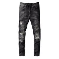 21ss Men Jeans Frayed Embroidery Fashion Pants Contrast Color High Street Style Trousers Slim-fit Men's Denim Jeans High Quality