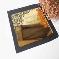 Grußkarten Angeschnittene 60 STÜCKE pro Los 7 * 7 Zoll Quadratische Form Goldener Spiegel Acryl Hochzeitseinladungskarte Nur in den USA