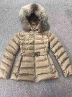 designer Monclair ladies classic down jacket fox fur collar white duck downs fashion keeps warm Doudoune