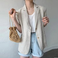 Women's Wool & Blends Korean cotton thread blazer casual women's jackets loose short elegant solid summer outwear DDLT