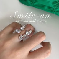 S925 Sterling Silver Fengxiaozhong Design Super Flash Zircon Exaggerated Ring with Adjustable Index Finger V044