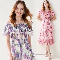 Women's Chiffon Dress Sexy Slashes Neck Summer Beach Holiday Dresses Ruffle Fashion Print Vestidos 2021