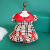 Classic Plaid Pet Skirt Comfortable Dog Apparel Butterfly Dress Summer Puppy Clothes