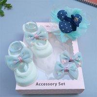 Moda Recém-nascido Menina Adorável Meias Headband Set Flor Bowknot Lace Headwrap + Booties Lace Cute Animal Decor Socks 3pcs Set 983 v2
