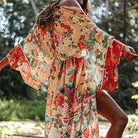 Bohemian Printed Summer Beach Wrap Dress Women Beachwear Cotton Tunic Chinese Style Sexy Front Open Kimono Pareo N751 Women's Blouses & Shir