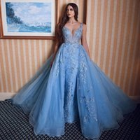 Blue V Neck Mermaid Lace Evening Dresses Overskirt Beaded Appliques Sweep Train Tulle Formal Prom Gowns Robe De Soiree