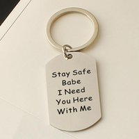 Keychains Letter Keychain Man Square Key Chain Women Funny Cute Stay Safe Babe I Need You Here Pendants Ring Stainless Steel Llaveros