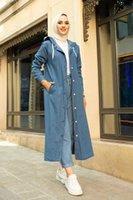 Ethnic Clothing Jean Hooded Trench Coat Abaya Plaid Solid Pocket Musulman Islamic Cloth Eid Summer Spring Season Lady Femme Long Sleeve