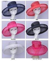 Weddingkentucky Derbyracesredrackwhitefuchsianavy blueのための全体のワイドブリムドレス教会Sinamayの女性の帽子