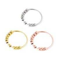 3 Colors Stainless Steel Flexible Beads Ring Women Stress Anxiety Finer Rings Gift for Love Friend Size 5-12