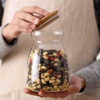 Toplu depolama tankı için kapak şişesi ile cam kavanoz mühürlü çay kutuları Tahıllar Şeffaf Depolar kavanoz kahve içerir