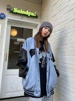 Women's Jackets Retro Flocking Love Splicing PU Leather Coats 2021 Autumn Hip Hop Jacket Lovers Trend