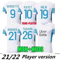 Giocatore Versione 21 22 Marsiglia Soccer Jerseys Olympique Milik Maillot deley OM 2021 2022 Camiseta Payet Thauvin Benedetto Men Kit Camicia da calcio Camicia Tailandia