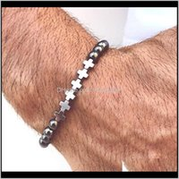 Brins perlés 6mm pierre naturelle croix tigre oeil turquoise malachite lave perles perles stretch bracelets hommes bracelet mode bijoux de mode 2vazw