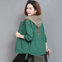 Women's Jackets 2021 Autumn Coat Hooded Jacket Long Sleeve Zipper Pockets Casual Windbreaker Basic Outerwear Plus Size 4XL E25