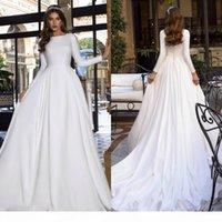 Elegant White A Line 2020 Wedding Dresses Jewel Neck Long Sleeve Pleat Skirt Garden Bridal Gown Custom Made Bohemian Wedding Dress