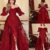 Dark Red Mermaid Evening Dresses with Detachable Train Dubai Arabic Sequined Lace Appliques Prom Party Gowns Dress Vestidos De Fiesta