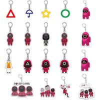 2021 TV Squid Game Keychain Accessories Round Six Key Chain Backpack Pendant Cartoon Prop Badge Creative Small Gifts Wholesale