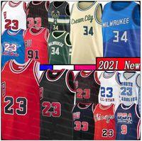 Giannis 34 23 Antetokounmpo Scottie 33 Pippen Basketball Jersey Mens Kids Youth Retro Malla 34 Ray Dennis 91 Rodman Allen Negro Rojo 2021