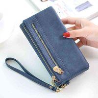 Double zipper purse women's long mobile phone bag Pu large capacity handbag