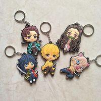 Keychains Car Pendant Slayer: Figure No Yaiba Keychain Wholesale1 Key Chain Anime Bag Double-Side Kimetsu Keyring Mix Demon 30pcs lot Waxnk