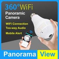 Cámara PANORÁNICA PANORÁMICA PANORÁTICA DE FISHEYE 1080P LED CCTV CCTV Cámara con bombilla y soporte Detección de movimiento