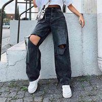 Ripped Women Jeans Wide Leg Long Pants Ladies Black Fashion Loose High Waist Vintage Denim Hole Korean Trouser 210922