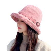 Wide Brim Hats Sparsil Plus Velvet Bucket Hat Winter Women Solid Knitted Wool Panama Caps Belt Buckle Folding Cap Outdoor Warm Fisherman